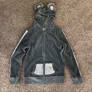 Girl's size 12 grey Justice full zip sweatshirt